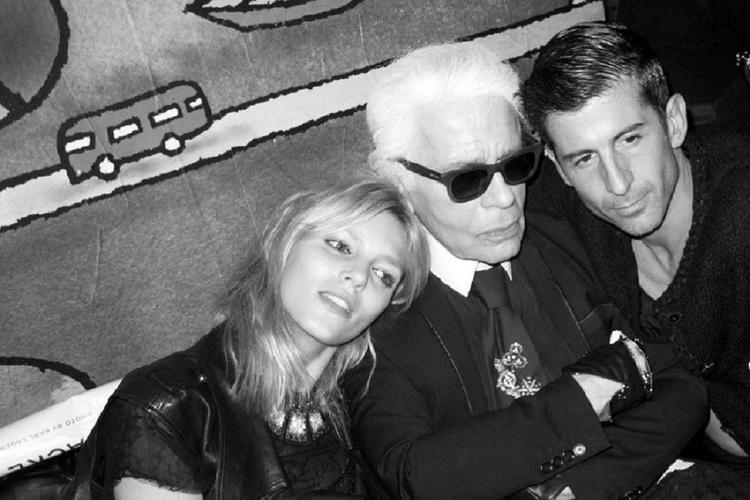 Anja Rubik i Karl Lagerfeld