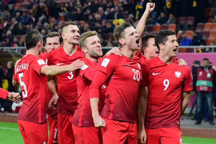 Zawodnicy polskiej reprezentacji - Łukasz Piszczek, Kuba Błaszczykowski, Robert Lewandowski, Artur Jędrzejczyk - cieszą się ze zdobytej bramki