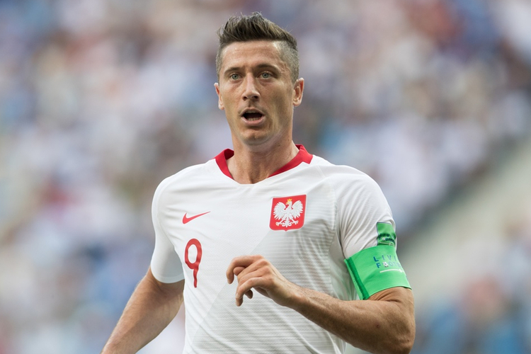 Robert Lewandowski na meczu reprezentacji Polski