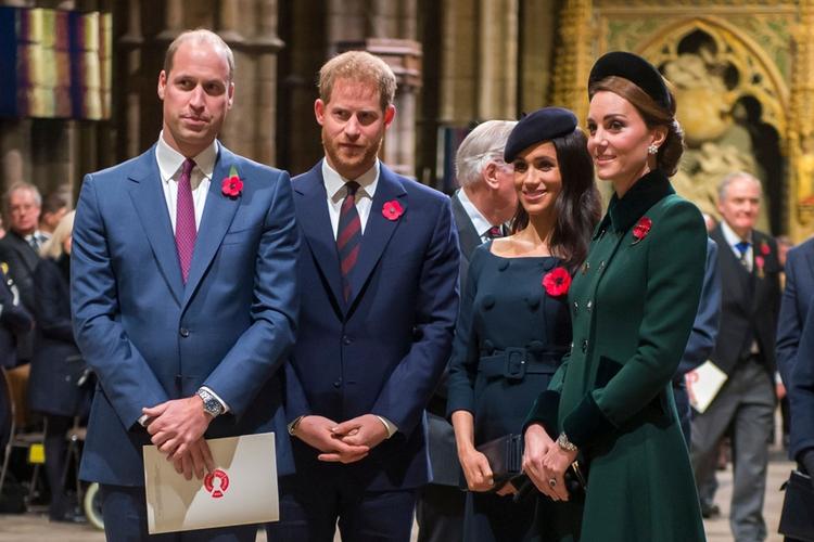 Książę William, książę Harry, księżna Meghan i księżna Kate podczas koncertu