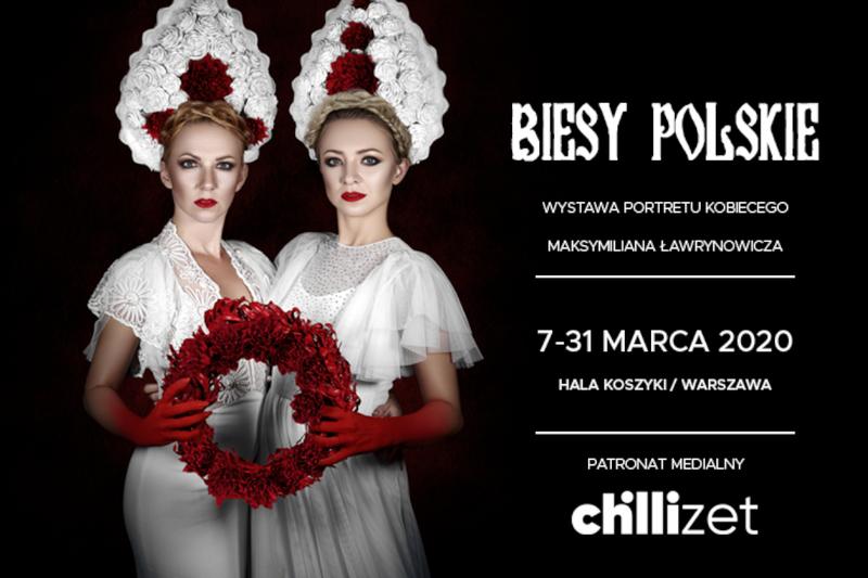 """""""Biesy polskie"""" - baner promujący wystawę portretów"""